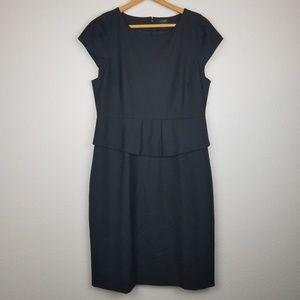 J. Crew Wool Blend Peplum Black Career Dress